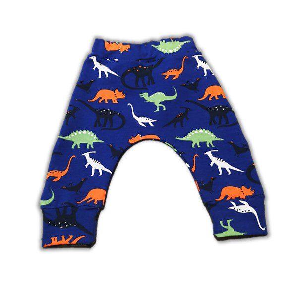 Pantaloni Harem pentru bebe si toddler - French Terry (Dino), pantaloni baieti, haine organice, bumbac organic, haine copii, atelier zitellu, pantaloni dinozauri, haine copii, haine bebe, pantaloni pentru pampersi