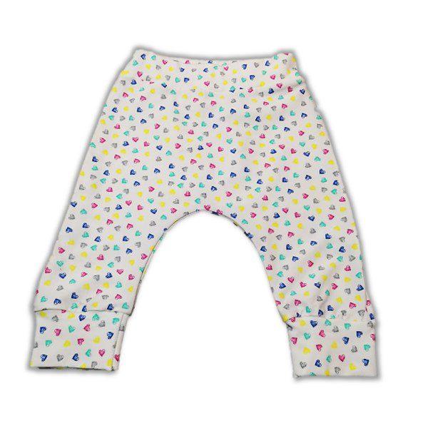 Pantaloni Harem pentru bebe si toddler - bumbac organic (Little Hearts), haine organice, bumbac organic, haine copii, atelier zitellu, pantaloni inimioare, haine copii, haine bebe, pantaloni pentru pampersi, pantaloni bumbac organic fete