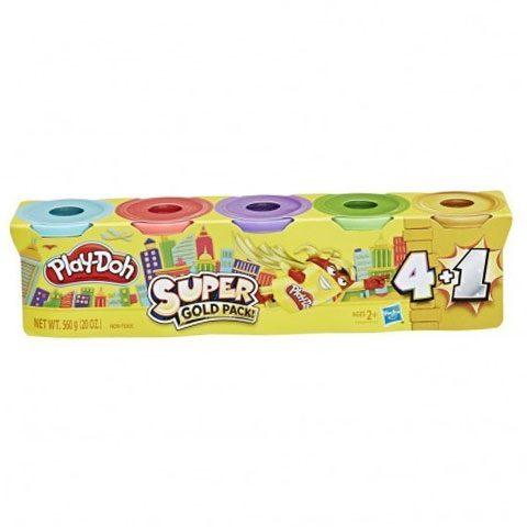Super set de plastelina Play-Doh 4 +1 (Gold ) - Hasbro, plastelina calitativa, set plastelina play doh, plastelina aurie, set 5 cutii plastelina