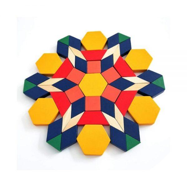 Joc Tangram din lemn 125 de piese, joc tangram, tangram lemn, tangram 125 piese, joc tip puzzle, jocuri din lemn
