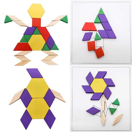 Joc Tangram din lemn 125 de piese, joc tangram, tangram lemn, tangram 125 piese, joc tip puzzle, jocuri din lemn, jocuri bebelind