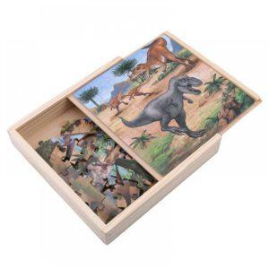 Puzzle 3 in 1 in cutie de lemn cu dinozauri (49 piese)