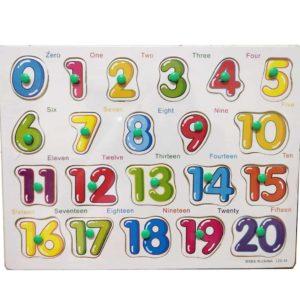 Puzzle lemn incastru cifre cu maner 0 – 20