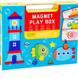 Puzzle magnetic in cutie – tema marină (62 piese)