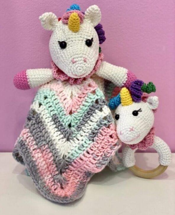 Set Unicornii Fermecati - 30 cm, set unicorni, unicorni crosetati, jucarii crosetate bebe, unicorni handmade