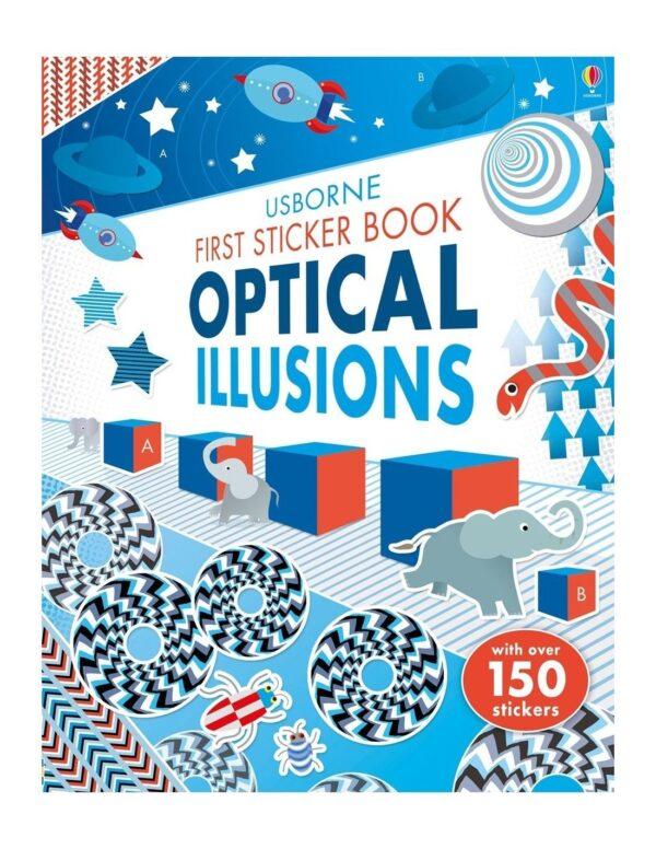 First Sticker Book Optical Illusions, carte iluzii optice, ilizii optice uscorne, carti usborne copii, iluzii optice stickere