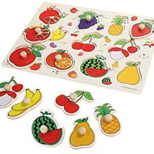 Puzzle lemn 12 piese cu mâner – Fructe