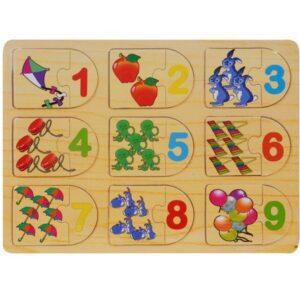 Puzzle lemn 18 piese Asocieri – Cifre