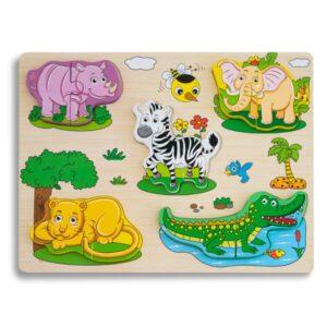 Puzzle incastru lemn 5 animale – 10 piese