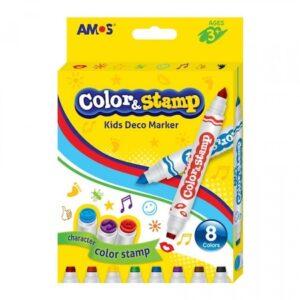 Carioci Color&Stamp 2 capete 8 culori/set – Amos