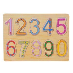 Puzzle lemn cifre mari colorate (10 piese)