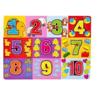 Puzzle lemn 11 piese Asocieri – Cifre 30×22 cm