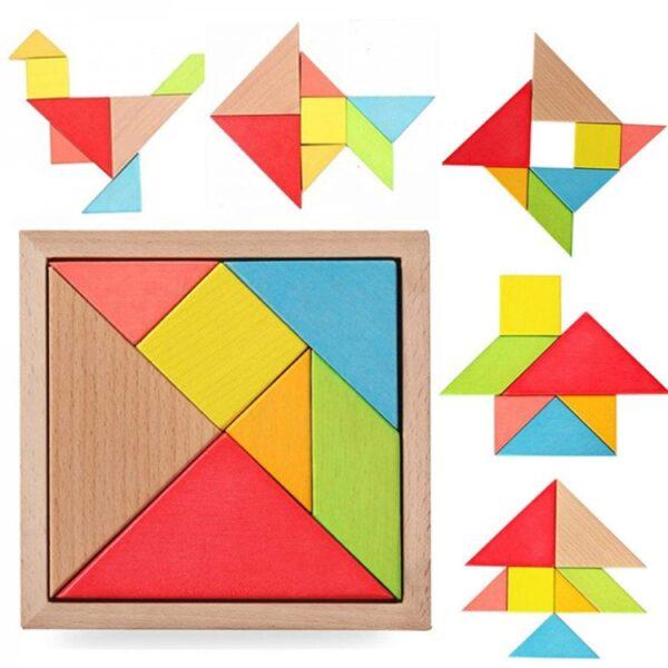 Joc educativ - Tangram din lemn cu 7 piese si 60 carduri ,tangram lemn incastrat, tagram cutie lemn, tangram 7 piese, tangram lemn colorat, tangram copii cutie, joc educativ lemn colorat