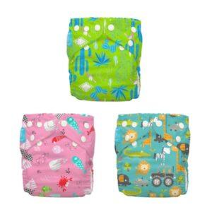 Set 3 Scutece Textile Charlie Banana Florida Safari Pink ORGANIC