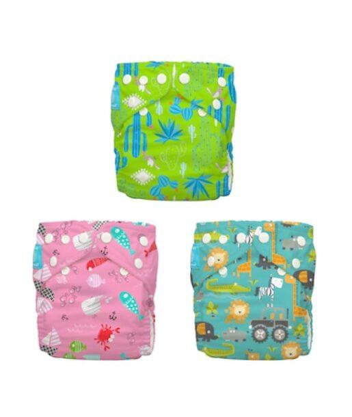 Set 3 Scutece Textile Charlie Banana Florida Safari Pink ORGANIC, scutece textile fete, set scutece canepa safari pink, scutece fete charlie banana, pampersi textili lavabili, set scutece charlie banana pentru fete