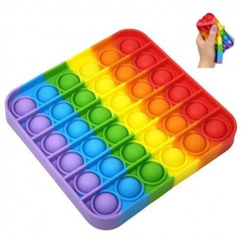 Pop it - Joc senzorial, pop it curcubeu, pop it rainbow, pop it patrat, pop it pentru copii, joc antistres, joc pentru calatorii, joc din silicon